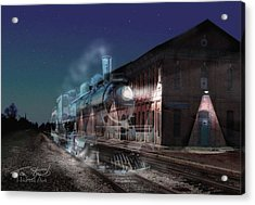 Stars And Station Lights Acrylic Print by Tom Straub