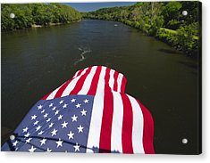Stars And Stripes Flies Over The Delaware River Acrylic Print by George Oze