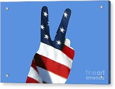 Acrylic Print featuring the photograph Stars And Stripes Peace Sign .png by Al Powell Photography USA