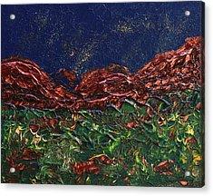 Stars Falling On Copper Moon Acrylic Print
