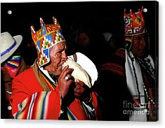 Start Of Aymara New Year Ceremonies Bolivia Acrylic Print by James Brunker