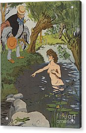 Startled Bather Acrylic Print by Leonce Burret