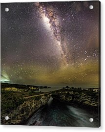 stary night in Broken beach Acrylic Print