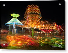 State Fair Rides At Night I Acrylic Print by Clarence Holmes