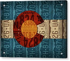State Flag Of Colorado Recycled License Plate Art Acrylic Print by Design Turnpike