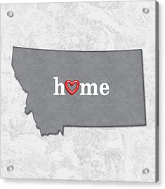State Map Outline Montana With Heart In Home Acrylic Print by Elaine Plesser