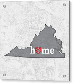 State Map Outline Virginia With Heart In Home Acrylic Print by Elaine Plesser