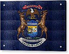 State Of Michigan Flag Recycled Vintage License Plate Art Version 1 Acrylic Print by Design Turnpike