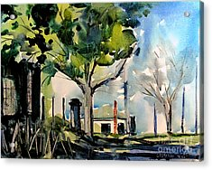 Station House Inner Urban Matted Glassed Framed Acrylic Print by Charlie Spear