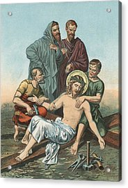 Station Xi Jesus Is Nailed To The Cross Acrylic Print by English School