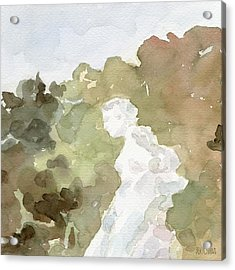 Statue Of A Woman Watercolor Paintings Of France Acrylic Print by Beverly Brown