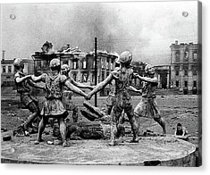 Statue Of Children After Nazi Airstrikes Center Of Stalingrad 1942 Acrylic Print