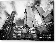 Statue Of Christopher Columbus In Columbus Circle With Time Warner Center Central Park Place And Hea Acrylic Print