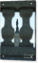 Statue Of Freedom Through Railing Acrylic Print