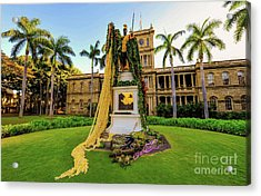 Acrylic Print featuring the photograph Statue Of, King Kamehameha The Great by D Davila