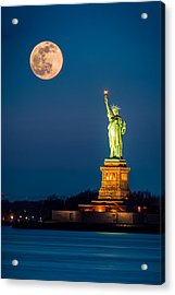 Statue Of Liberty And A Rising Supermoon In New York City Acrylic Print