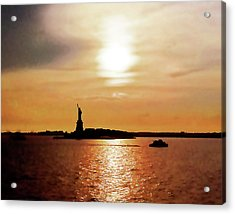 Statue Of Liberty At Sunset Acrylic Print
