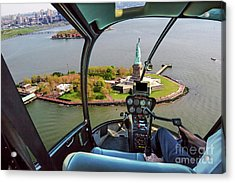 Statue Of Liberty Helicopter Acrylic Print