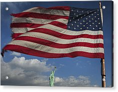 Statue Of Liberty Under The Flag Acrylic Print
