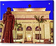 Statue Of Saint Junipero Serra In Front Of San Buenaventura City Hall Acrylic Print by John A Rodriguez