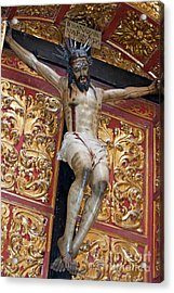 Statue Of The Crucifixion Inside The Catedral De Cordoba Acrylic Print by Sami Sarkis