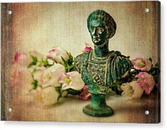 Statue With Campanula Flowers Acrylic Print by Garry Gay