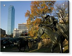 Statues In A Park, Cattle Drive Acrylic Print by Panoramic Images