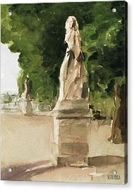 Statues Jardin Du Luxembourg Acrylic Print by Beverly Brown
