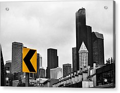 Stay Left Of Downtown Seattle Acrylic Print by Pelo Blanco Photo