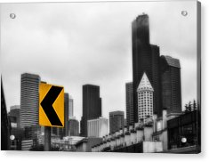 Stay Left Of Downtown Seattle Soft Glow Acrylic Print by Pelo Blanco Photo