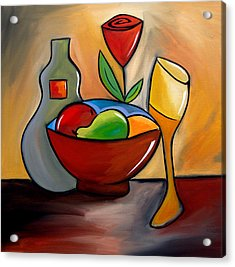 Staying In - Abstract Wine Art By Fidostudio Acrylic Print by Tom Fedro - Fidostudio