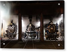 Steam Locomotives In The Train Yard Of The Durango And Silverton Narrow Gauge Railroad In Durango Acrylic Print by Carol M Highsmith