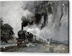 Steam Train At Garsdale - Cumbria Acrylic Print by John Cooke