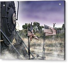 Steam Train Patriotic Acrylic Print by William Havle