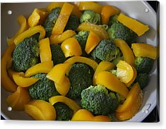 Acrylic Print featuring the photograph Steamed Broccoli And Peppers by Vadim Levin