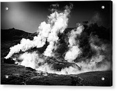 Acrylic Print featuring the photograph Steaming Iceland Black And White Landscape by Matthias Hauser