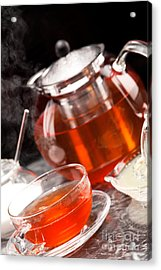 Steaming Tea In Tea Service Of Glass Acrylic Print