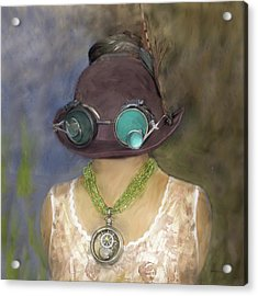 Steampunk Beauty With Hat And Goggles - Square Acrylic Print