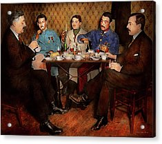 Acrylic Print featuring the photograph Steampunk - Bionic Three Having Tea 1917 by Mike Savad