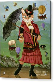 Acrylic Print featuring the painting Steampunk Cat Gal - Victorian Cat by Carrie Hawks