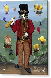 Acrylic Print featuring the painting Steampunk Cat Guy - Victorian Cat by Carrie Hawks