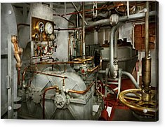 Acrylic Print featuring the photograph Steampunk - In The Engine Room by Mike Savad
