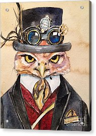 Acrylic Print featuring the painting Steampunk Owl Mayor by Christy  Freeman