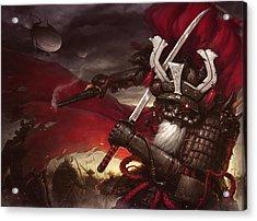 Steampunk Samurai Acrylic Print by James Ng