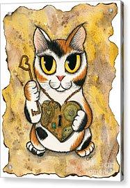 Steampunk Valentine Cat Acrylic Print