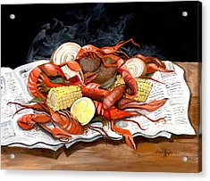 Steamy Crawfish Acrylic Print by Elaine Hodges