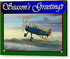 Acrylic Print featuring the painting Stearman Christmas Card by Stuart Swartz