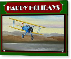 Acrylic Print featuring the painting Stearman Morning Flight Christmas Card by Stuart Swartz
