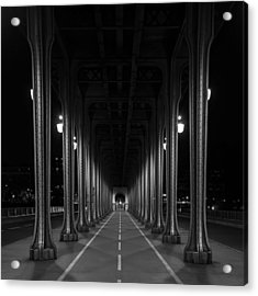 Acrylic Print featuring the photograph Steel Colonnades In The Night by Denis Rouleau
