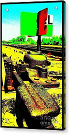 Acrylic Print featuring the photograph Steel Diesel Track Signal by Peter Gumaer Ogden